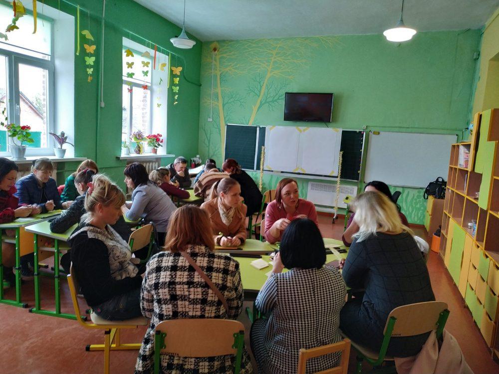 Конференція партнерів в філії. батьки та партнери працюють в групах