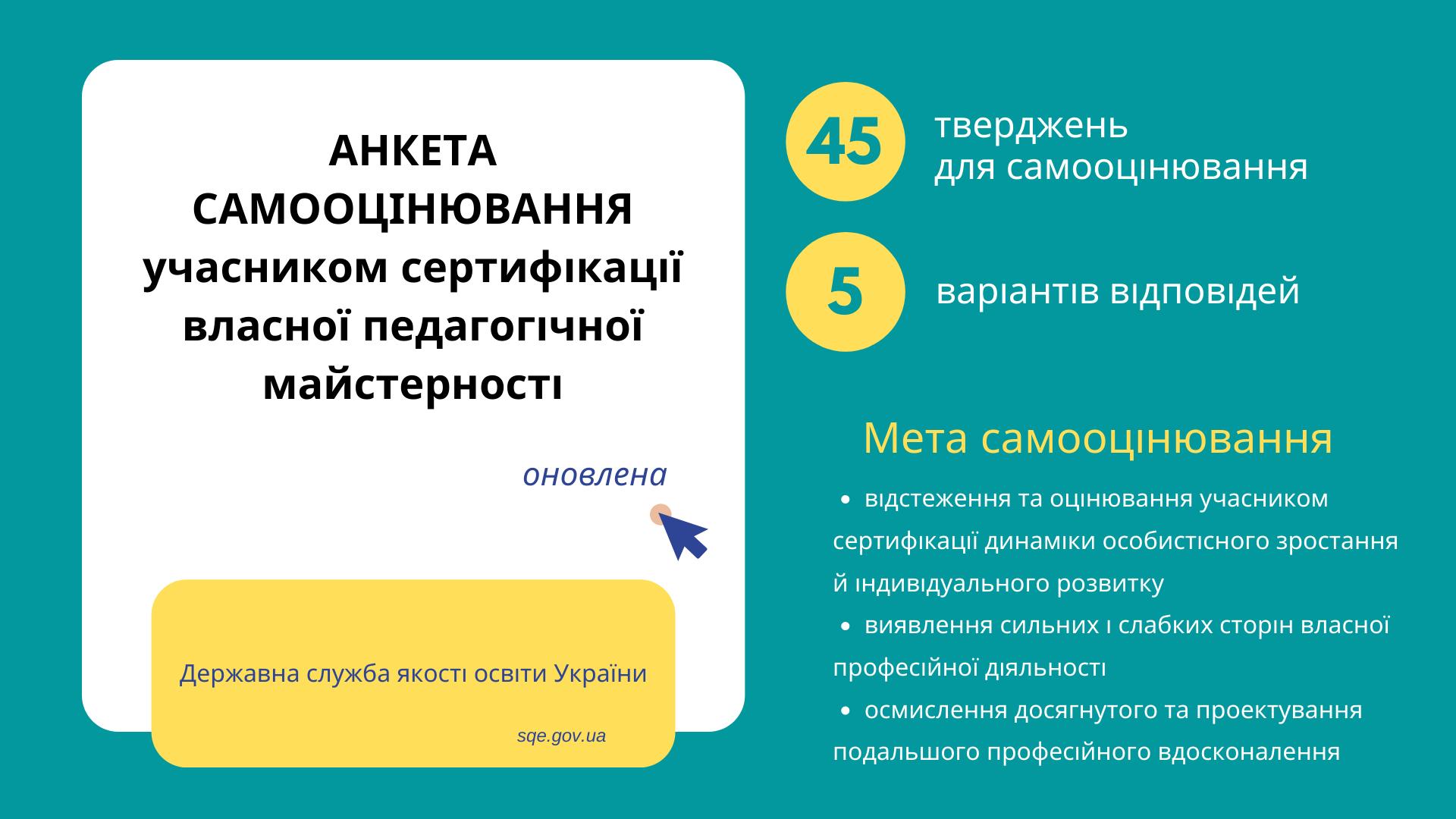 Сертифікація: оновлені методика експертного оцінювання та анкета самооцінювання